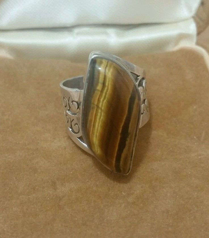 VINTAGE JEWELLERY 925 STERLING SILVER RING WITH A LARGE TIGERS EYE GEM SIZE N1/2 in Jewellery & Watches, Fine Jewellery, Fine Rings | eBay