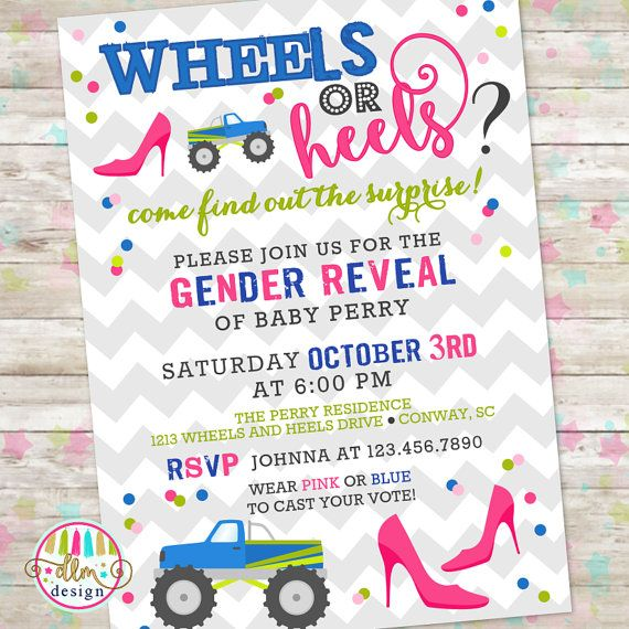 Wheels or Heels Gender Reveal Invite Gender by DreamlikeMagic