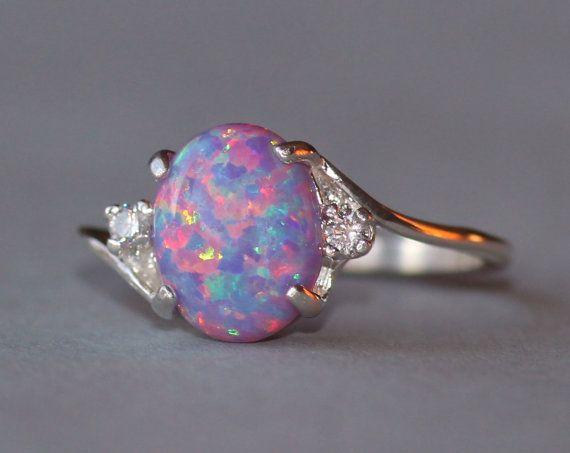 Rare Purple Fire Opal CZ Gemstone Ring,Lab Created Purple Opal Ring,Sterling Silver Womens Opal Ring,October Birthstone,Rainbow