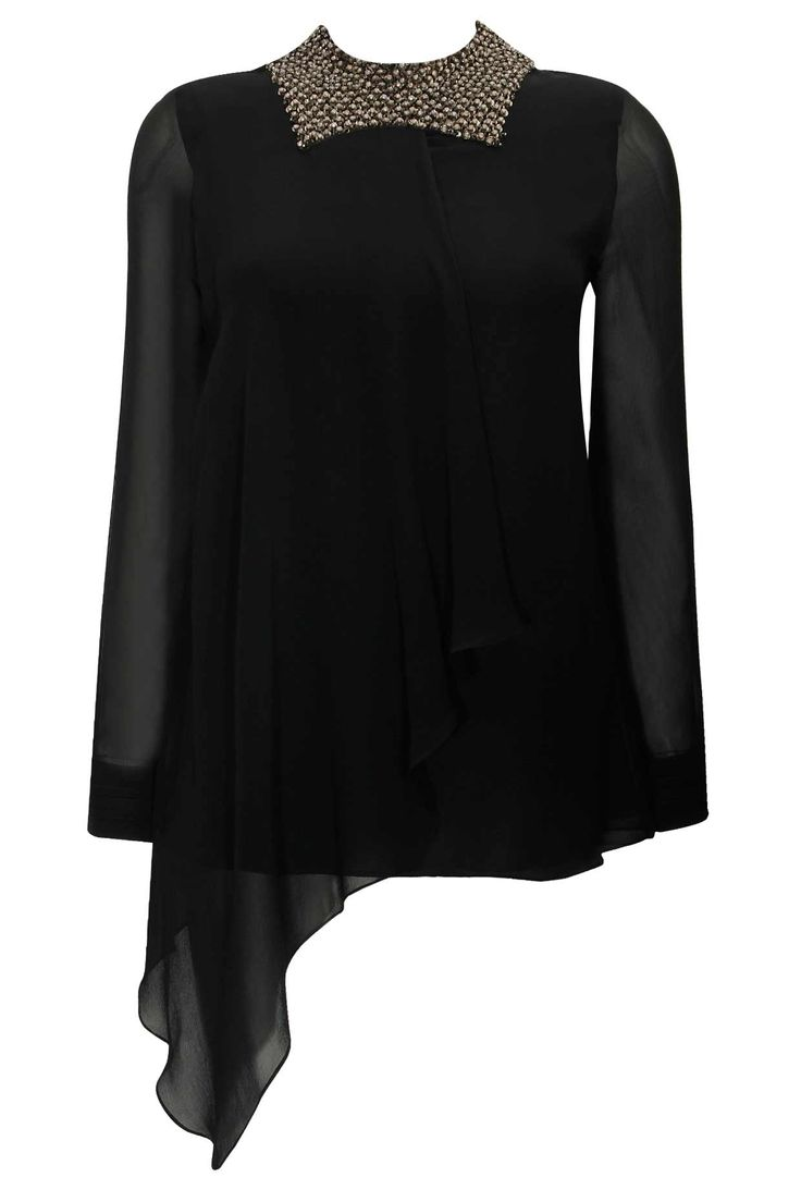 Black jewelled neckline draped top available only at Pernia's Pop-Up Shop.