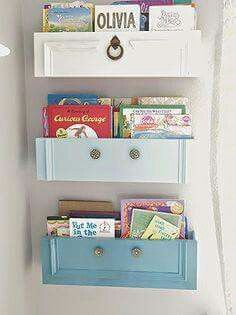 Using drawer fronts make great wall shelves to hold children books  looks great & easy to make