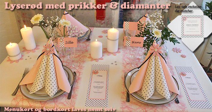 lyserød borddækning med prikker og diamanter