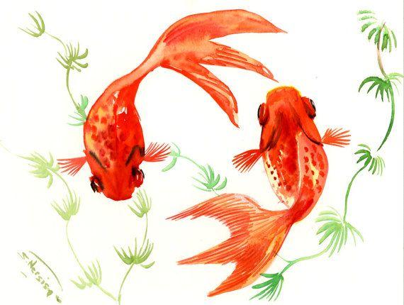 Two Goldfish, Two Koi, original orange yellow watercolor Asian style painting, Zen Brush painting, 12 X 9 in
