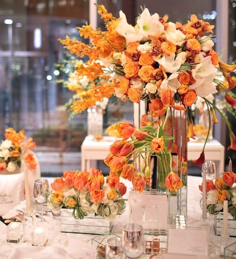 orange reception wedding flowers,  orange wedding decor, orange wedding flower centerpiece, orange wedding flower arrangement, add pic source on comment and we will update it. www.myfloweraffair.com