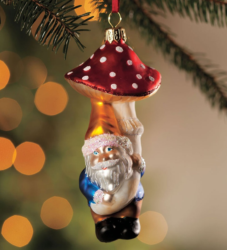 50 best mushroom christmas ornaments images on Pinterest  Glass