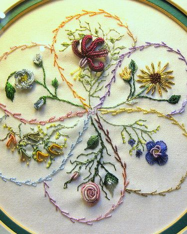 Brazilian Embroidery Pictures | Brazilian Embroidery curves on flowers follow the commas idea for pale green quilt