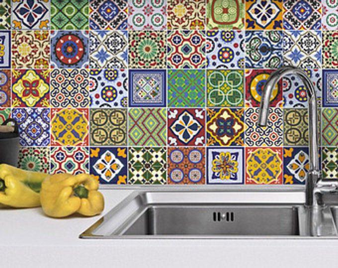 Talavera Fliesenaufkleber, Mexikanische Fliesenaufkleber, Küche Backsplash  Aufkleber, Bad, Packung 48 Aufkleber,