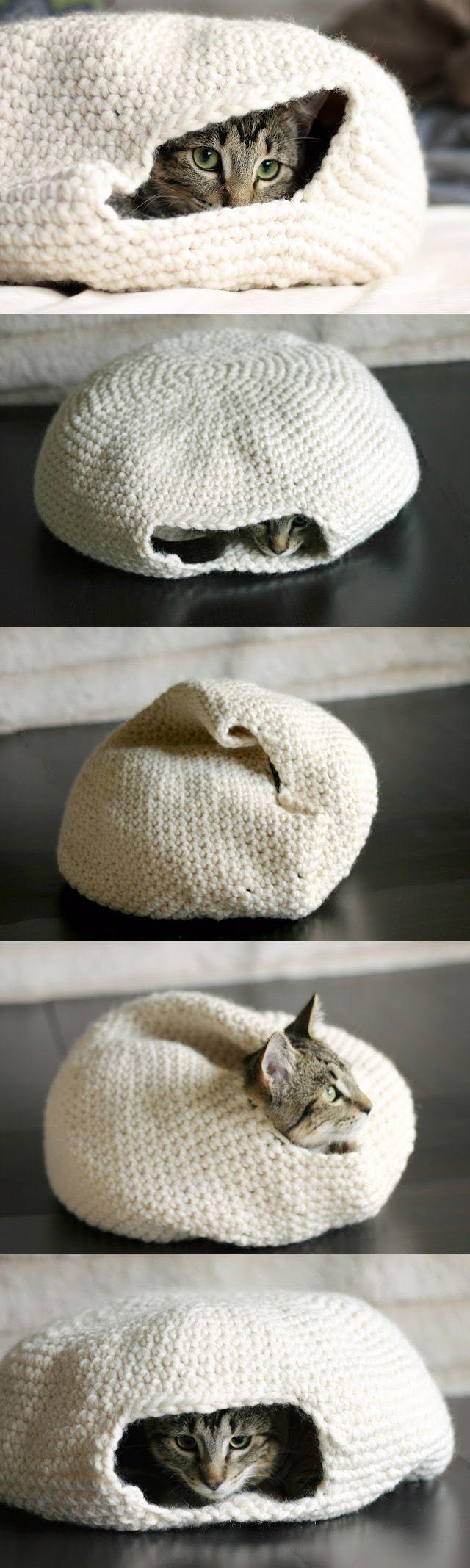 Cama-guarida de ganchillo para gatos | Muy Ingenioso                                                                                                                                                                                 Más