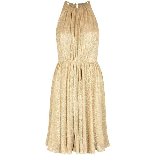 Halston Heritage Gold Open-back Plissé Dress - Size L ($540) ❤ liked on Polyvore featuring dresses, halston heritage, open back dresses, beige gold dress, gold cocktail dress and gold metallic cocktail dress