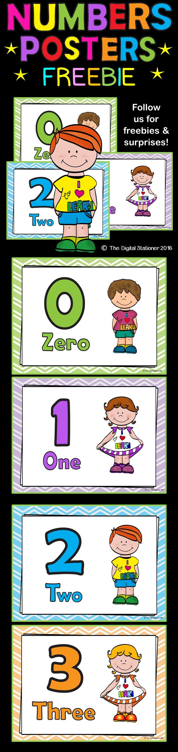 FREE - Numbers posters (0-20). Maths. Numeracy, displays, revision, guidance, printables, no prep