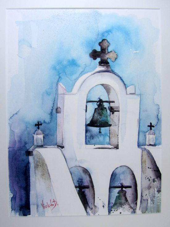 ARTFINDER: Secrets of Santorini 1 by Violeta Damjanovic-Behrendt - Watercolor, one of a kind painting of beautiful cycladic architecture of Greek Island Santorini. Painted on Hahnemühle, German professional watercolor paper.