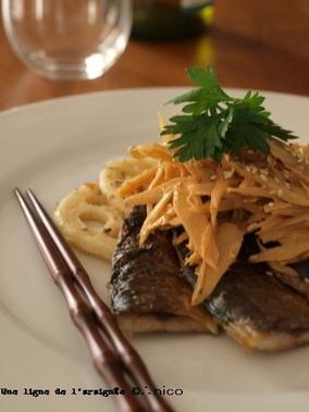 秋刀魚のソテー牛蒡サラダソース