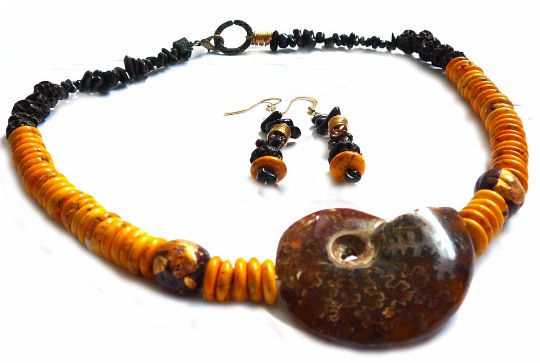 Mama Africa - Necklace with FREE Earrings / Yellow dyed Howlite, Ammonite, Mocca Bamboo, Raku Beads Gold Brown, Lava by BatyaHavDesign, $79.00 USD