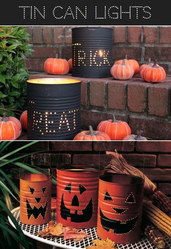 Tin Can Halloween Lights, Make Frankenstein or ghost