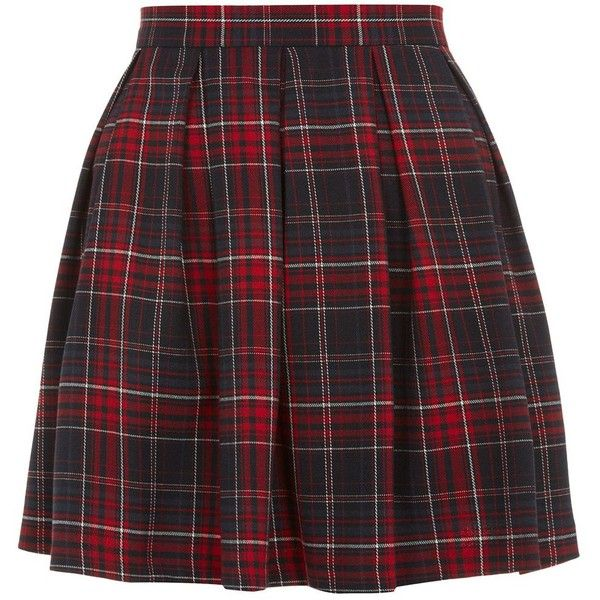 Red Tartan Check Skater Skirt ($14) found on Polyvore featuring skirts, bottoms, saias, faldas, checkered skirt, red tartan skirt, black circle skirt, red skirt and black plaid skirt