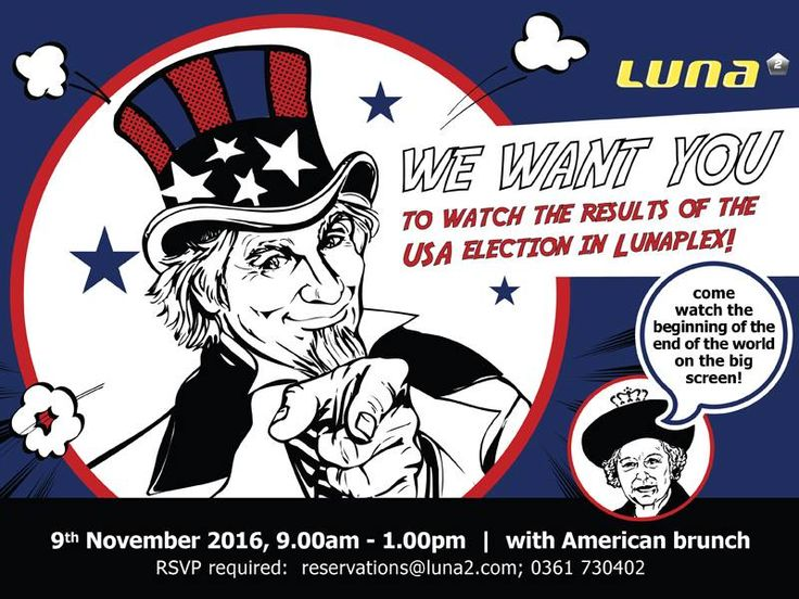 The zany circus that is the 2016 American presidential election is finally coming to an end! Join us for brunch with mimosas and Bloody Mary's as the results roll in in Lunaplex on the morning of Wednesday 9th November.   #Luna2life #Luna2 #Luna2studiotel #Bali #Seminyak #hotel #USA #presidential #election #results #brunch #Lunaplex