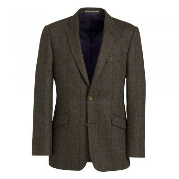 The Nice style is a regular fitting garment. A soft brown herringbone Magee tweed with a rich purple and blue check. Features include - slant pockets, side vents, 2 buttons, two-tone contrasting under-collar, inside phone and diary pockets.