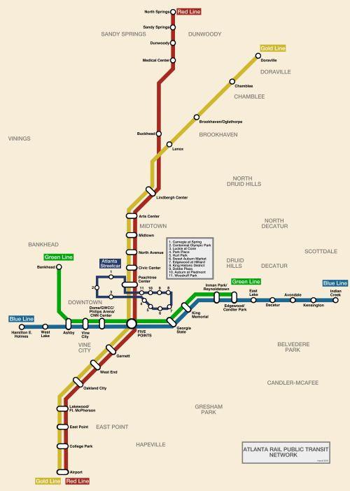 "imprail: ""Atlanta Rail Map (includes the unusually small streetcar loop) """