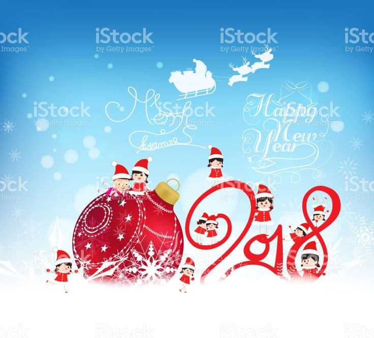 Happy New Year 2018. Christmas Background With Red Bauble, Kids, Snow And  Snowflakes