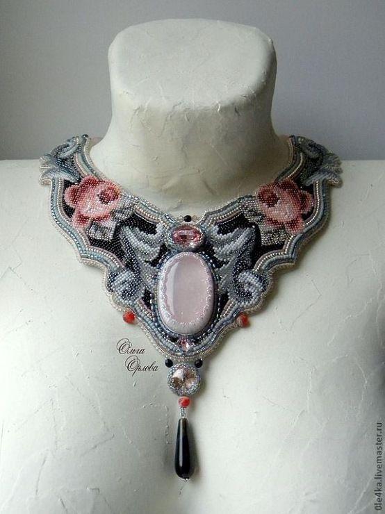 Neckpiece by Russian beader Olga Orlova. Bead embroidery, peyote stitch bezels.  Seed beads, Swarovski crystals, various stones. More at http://viola.bz/russian-beadwork-artist-and-jeweler-olga-orlova/