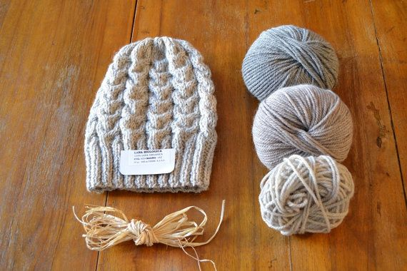 Slouchy Hat with organic wool bio lana for knit hat by Notforeat