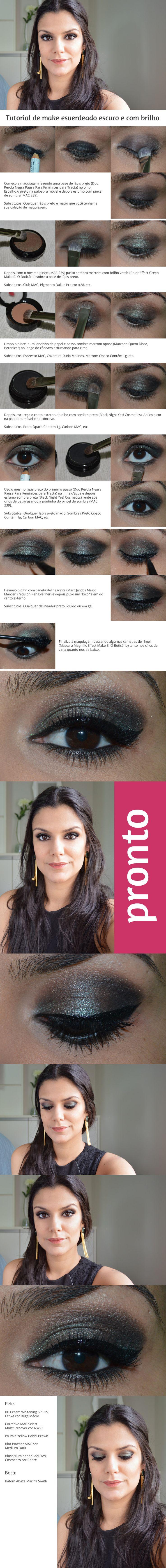 Tutorial: Esverdeado escuro e cintilante http://www.2beauty.com.br/blog/2014/09/12/tutorial-esverdeado-escuro-e-cintilante/ #tutorial #maquiagem