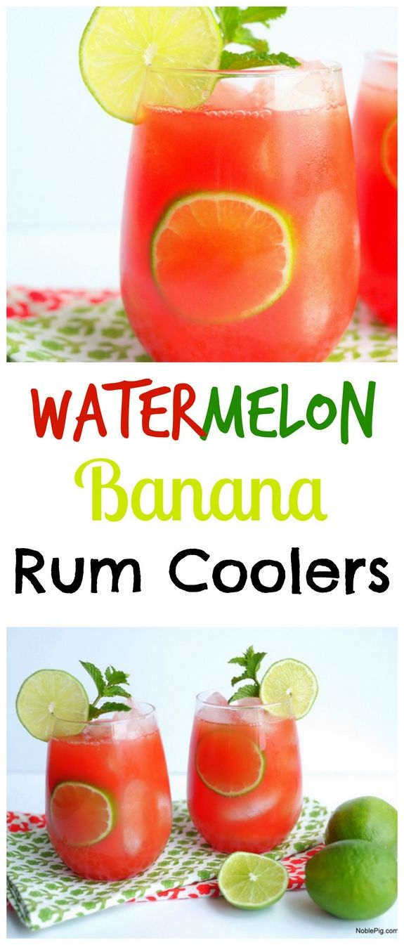 Watermelon-Banana Rum Coolers from NoblePig.com.