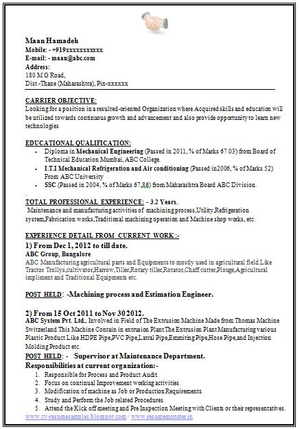 Sample Template of a Experienced Mechanical Engineer with great Job Profile, Career Objective, Professional Curriculum Vitae with Free Download in Word Doc (3 Page Resume) (Click Read More for Viewing and Downloading the Sample)  ~~~~ Download as many CV's for MBA, CA, CS, Engineer, Fresher, Experienced etc / Do Like us on Facebook for all Future Updates ~~~~