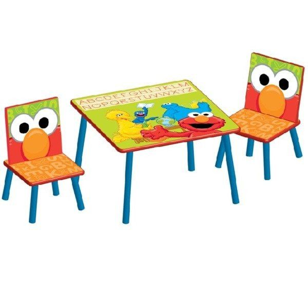 Sesame Street Table and Chairs Set for Kids Study Table Art Eating and Fun Table. This Sesame Street table and seat set gives an immersive ordeal to your youngster. With solid materials and splendid hues, this table and seat set is both fun and strong. Light up your youngster's day with this Sesame Street table and seat. Set composition has one (1) Sesame Street table; two (2) seats. Made of wood.Measurements: 23.5 inches in length x 23.5 inches wide x 17.5 inches high