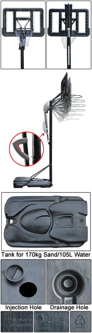 "Adjustable Portable Basketball Hoop 44"" Goal- I miss ..."