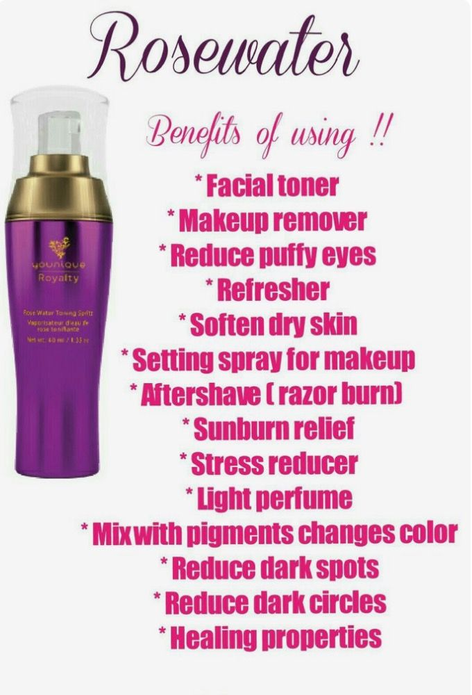 Younique Royalty Rose Water Toning Spritz! So many uses in one bottle! To name a few...it's a toner, hydrates, reduces dark circles, reduces redness, anti inflammatory, makeup setter, gentle perfume, reduces puffiness, aftershave, hair shine, sunburn relief, the possibilities are ENDLESS! #angelfeatherlashes