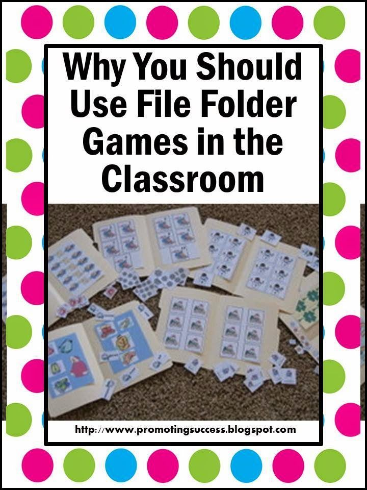 FREE Special Education and Autism Resources: Why Use File Folder Games in the Classroom?  Students love file folders and they can provide a great way for students to practice skills as well as a way for teachers to collect data.  Read more at:  http://promotingsuccess.blogspot.com/2013/01/thematic-thursday-file-folder-games.html