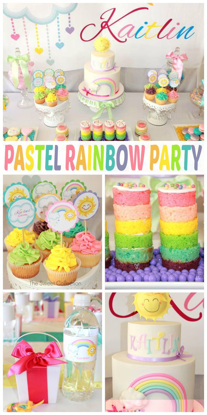 A stunning pastel rainbow girl birthday party with cake stacks, macarons and…
