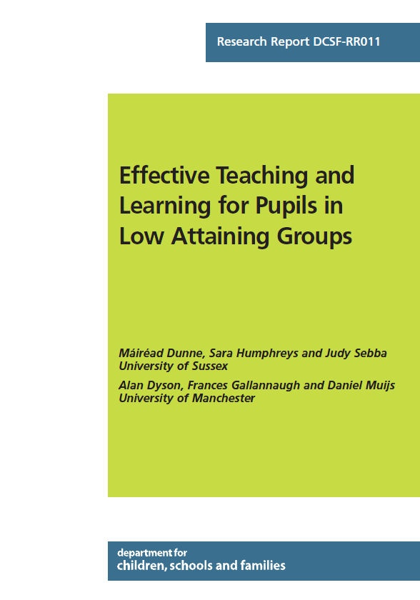 This resource is a study undertaken by The University of Sussex and the University of Manchester on behalf of the Department for Children, Schools and Families (DCSF). It focuses on a quantitative and qualitative research study to consider how low attaining groups are established and monitored within schools and identifies good practice guidelines in supporting these students through effective teaching and learning practices.
