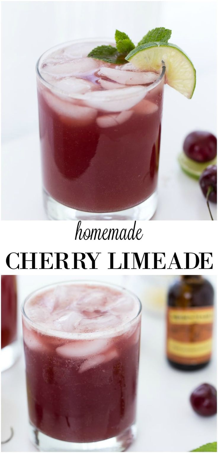This homemade sparkling cherry limeade recipe has a subtle hint of almond to bring out the flavor of the cherries. Perfect for any summer BBQ and picnics.