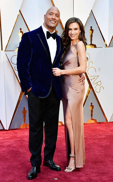 2017 academy awards dwanye johnson blue suede tuxedo coat with black tuxedo pants and a black bow tie