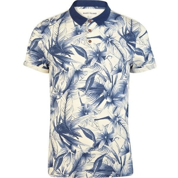 River Island Blue floral print polo shirt (40 BRL) ❤ liked on Polyvore featuring men's fashion, men's clothing, men's shirts, men's polos, sale, mens floral polo shirt, mens cotton short sleeve shirts, mens blue shirt, mens polo shirts and mens floral print shirt