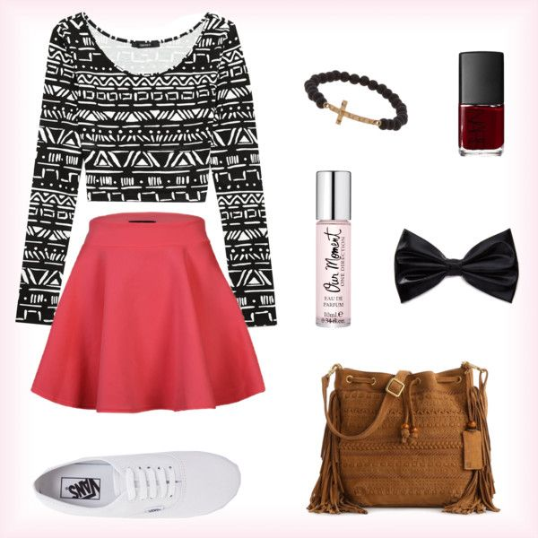 I like the skater skirt with the cute top and the VANS make it not,