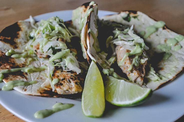 Chicken Tacos with Cilantro Slaw + Avocado Cream via Honesttonod.com