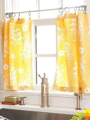 sunny kitchen curtains: Kitchens Windows, Kitchens Curtains, Kitchen Windows, Kitchen Curtains, Tension Rods, Diy'S Curtains, Cafe Curtains, Windows Treatments, Kitchens Sinks