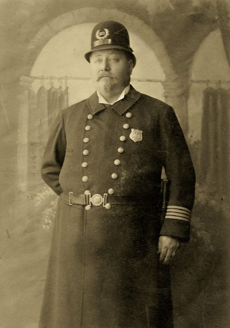 Old New York City Police costume | OFFICER JOHN WEITZEL DISPLAYING SECOND ISSUED BADGE 1860