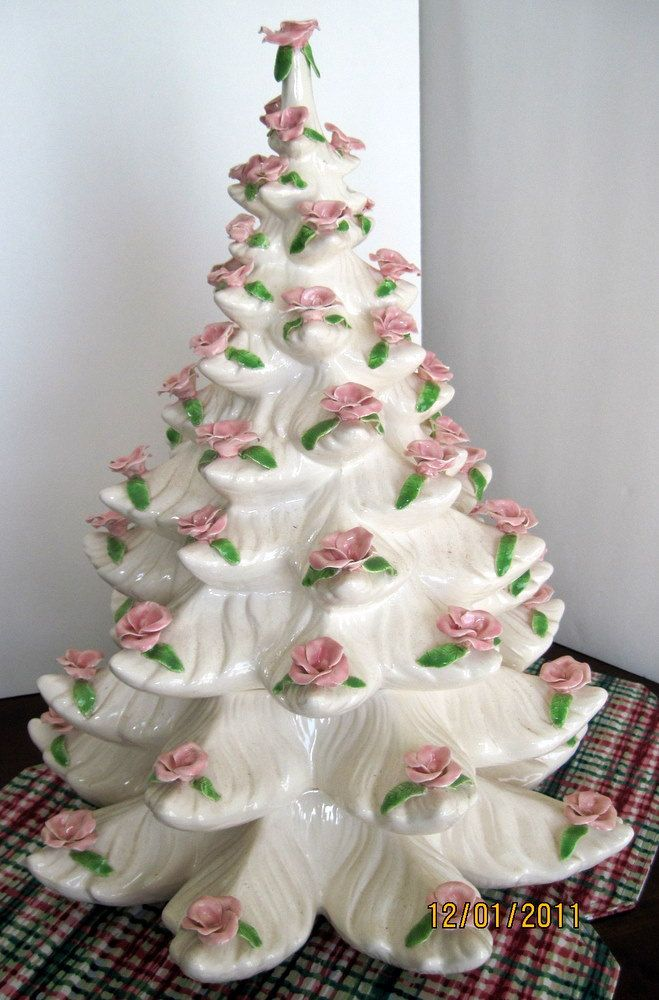 Never saw one decorated like this!!! this is not one of my favorites, but I got BANNED from the Christmas Tree group I was in so this is my board............ -Large Vintage White Christmas Tree Pink Roses Shabby Chic  ...