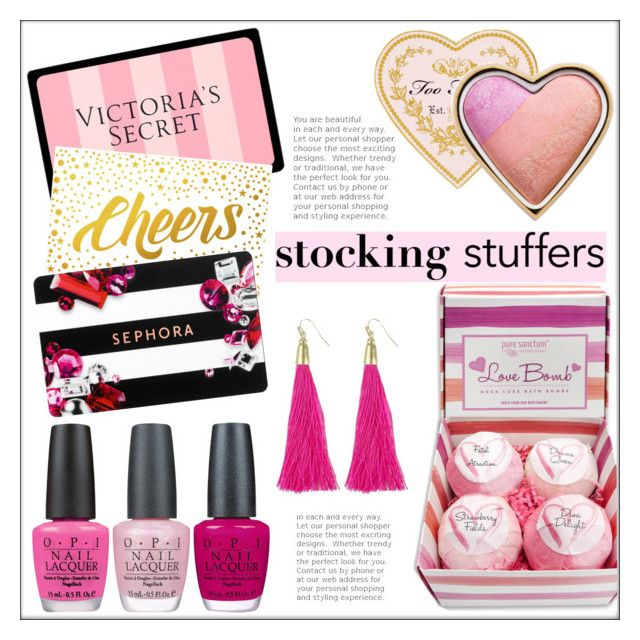 """""""Gift Guide: Stocking Stuffers"""" by pat912 ❤ liked on Polyvore featuring Victoria's Secret, Sephora Collection, OPI, Too Faced Cosmetics, Moon and Lola, giftguide and polyvoreeditorial"""