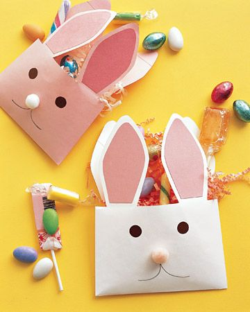 Envelope Bunnies An easy alternative to Easter baskets, these treat-filled paper rabbits are made using construction paper, pom-poms, and our bunny ear template.