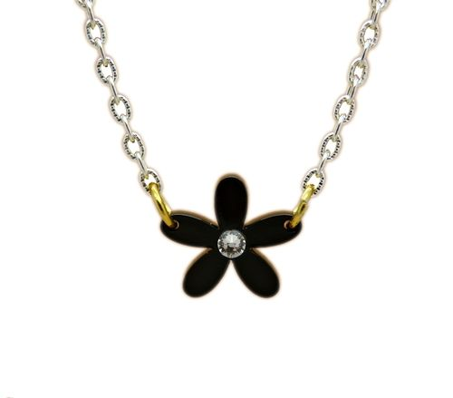 Black and White Monochrome Daisy Necklace A Dainty Black Daisy design Made with Swarovksi & Perspex Comes on a Silver plated or Sterling silver Chain Chain length Approximately 16-18 inches Each charm size: (Approximately) 1 inch by 1 inch