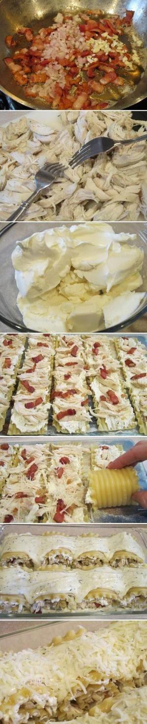 Chicken and Bacon Lasagna Roll Ups Recipe by Gemini66
