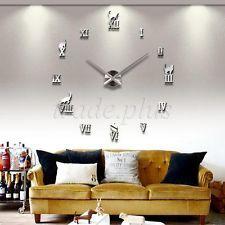 Modern Large 3D Silver Roman Numerals Wall Clock Frameless Watch DIY Home Decor