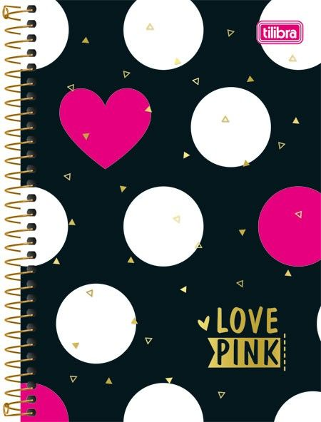 Caderneta Espiral Capa Dura 1/8 Love Pink 96fls