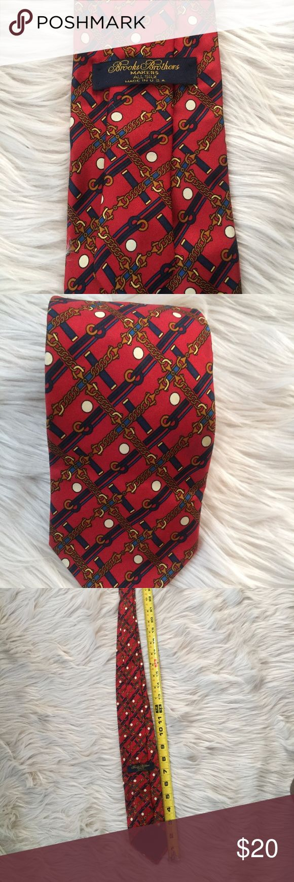 Brooks Brothers USA- Geometric Silk Men's Neck Tie BROOKS BROTHERS TIE LIKE NEW! NO STAINS! NO RIPS! 100% SILK WIDTH:  APPROX 3 1/4 IN. LENGTH: 58 IN THE BACKGROUND COLOR IS RED, WITH BLUES, BROWN AND WHITE Brooks Brothers Accessories Ties