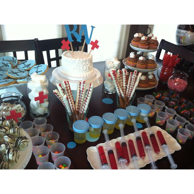 Nursing School Graduation party: urine cup  syringe jello shots, EKG cookies, nursing cap cupcakes, choc-dipped pretzel thermometers, cotton ball marshmallows, pill cup Skittles, dipped strawberries  Oreo truffles